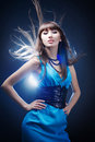 Beautiful girl in a blue dress Royalty Free Stock Photos