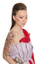 Beautiful girl with a body art on his arm mixed race asian caucasian Royalty Free Stock Photography