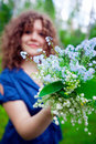 Beautiful girl with bouquet Stock Photography