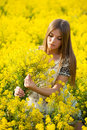 Beautiful girl with a bouquet in the field of yellow flowers Royalty Free Stock Photography