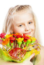 Beautiful girl with bouquet of flowers Stock Photography