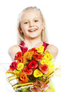 Beautiful girl with bouquet of flowers Royalty Free Stock Photos