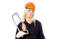 Beautiful girl Builder keep the saw for metal Stock Image