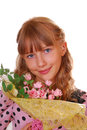 Beautiful  girl with bunch of roses Stock Photos