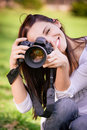 Beautiful girl with camera Royalty Free Stock Photos
