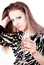 Beautiful girl with champagne Stock Images