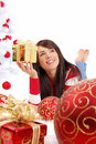 Beautiful girl  with chrismas balls Royalty Free Stock Photography