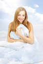 Beautiful girl in the clouds Royalty Free Stock Photo