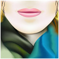 Beautiful girl in colored silk scarf illustration Royalty Free Stock Photo