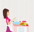 Beautiful girl cooking soup and serving chicken lady Royalty Free Stock Photos