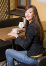 Beautiful girl with cup of coffee Royalty Free Stock Photo