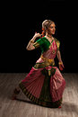 Beautiful girl dancer of indian classical dance bharatanatyam young woman exponent Stock Photos