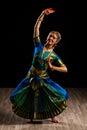 Beautiful girl dancer of indian classical dance bharatanatyam young woman exponent Royalty Free Stock Photo