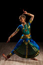 Beautiful girl dancer of indian classical dance young woman exponent bharatanatyam Royalty Free Stock Photography