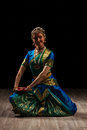 Beautiful girl dancer of indian classical dance young woman exponent bharatanatyam Stock Photo