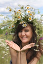 Beautiful girl  in diadem of wildflowers Stock Image