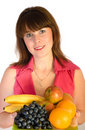 Beautiful girl with dish of fruits Royalty Free Stock Photos
