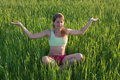 Beautiful girl doing yoga at nature Royalty Free Stock Photos
