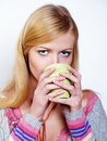 Beautiful girl drinking coffee  tea Royalty Free Stock Photos