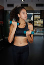 Beautiful girl is engaged in sports with dumbbells in the fitness center portrait of young afro woman exercising free weights at Royalty Free Stock Image