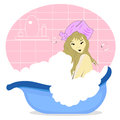 Beautiful girl enjoying a bath Royalty Free Stock Images