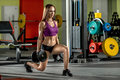 Beautiful girl, execute exercise with dumbbells Royalty Free Stock Photo