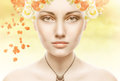 Beautiful girl face whits perfect skin with flowers spring Stock Photo