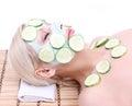 Beautiful girl with facial mask of cucumber Stock Photos