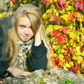 Beautiful girl in fall season Stock Images