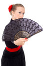 Beautiful Girl with a Fan Stock Image