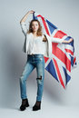 Beautiful girl with flag of britain the Royalty Free Stock Photo