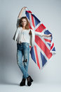Beautiful girl with flag of britain the Royalty Free Stock Photography