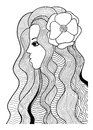 Beautiful girl with flower black and white stylized vector illustration Royalty Free Stock Photo