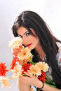 Beautiful girl with flowers Royalty Free Stock Photos