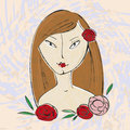 Beautiful girl with flowers face woman for yor design Royalty Free Stock Photography