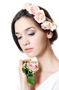 Beautiful girl with flowers in hair Royalty Free Stock Image