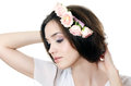 Beautiful girl with flowers in hair Royalty Free Stock Photos