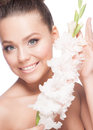 Beautiful girl with flowers portrait of young make up and pink fresh isolated on white background Stock Photos