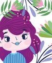 Beautiful girl foliage leaves vegetation cartoon botany Royalty Free Stock Photo