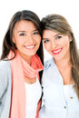 Beautiful girl friends looking happy isolated over a white background Royalty Free Stock Photography