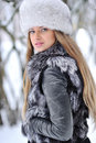 Beautiful girl in furry hat Royalty Free Stock Image