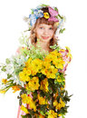 Beautiful girl with garland of wild flower. Royalty Free Stock Images