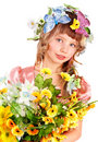Beautiful girl with garland of wild flower. Royalty Free Stock Photography