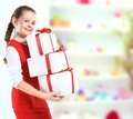 Beautiful girl with gift boxes picture of Royalty Free Stock Images