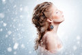 Beautiful girl with glamour Christmas makeup Royalty Free Stock Photo