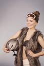 Beautiful girl with goggle and helmet. Royalty Free Stock Photo