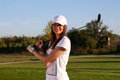 Beautiful girl golf player Stock Photos