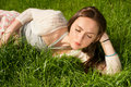 Beautiful girl on grass Royalty Free Stock Photos