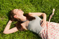 Beautiful girl on grass Stock Photography