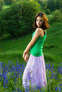 Beautiful girl in green field Royalty Free Stock Photos
